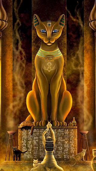 Обои на телефон храм, статуя, молитва, египет, кошки, древний, pharaoh, ancient egypt