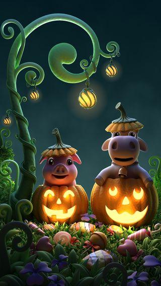 Обои на телефон тыква, хэллоуин, счастливые, свинья, cow