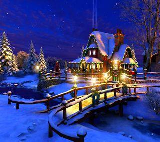 Обои на телефон снег, рождество, огни, дом, house snow lights, christmas house, christmas eve