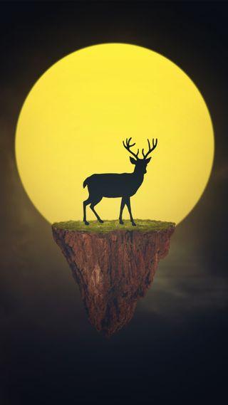 Обои на телефон art, deer and sun, природа, дизайн, арт, белые, солнце, горы, олень, фотошоп, охота, закат