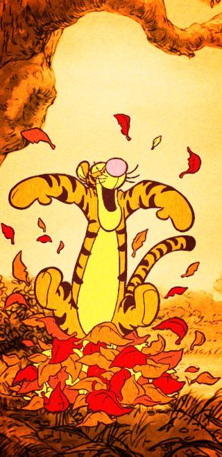 Обои на телефон благодарение, фан, пух, осень, листья, дисней, дерево, wraithdude, tigger, hundred acre wood, disney