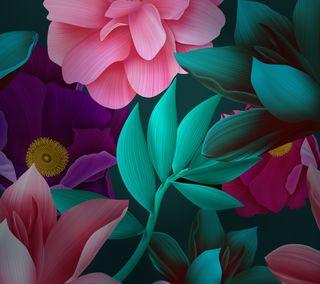 Обои на телефон хуавей, цветы, фиолетовые, стена, стандартные, розовые, матовые, листья, красота, зеленые, mate 10, huawei mate 10