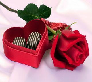 Обои на телефон шоколад, сердце, романтика, розы, подарок, любовь, валентинка, love