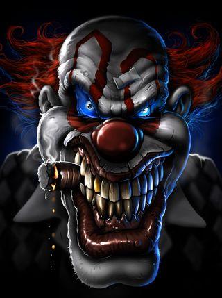 Обои на телефон клоун, зло, дым, evil clown