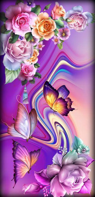 Обои на телефон фантазия, цветы, цветные, фиолетовые, розы, дизайн, бабочки, purple fantasy