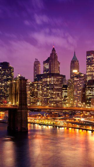 Обои на телефон нью йорк, новый, мост, манхэттен, закат, городской пейзаж, город, ny, brooklyn
