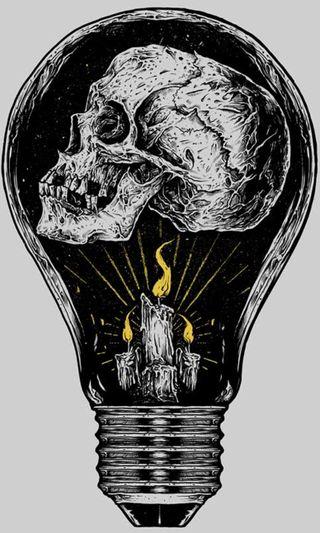 Обои на телефон свеча, черные, череп, рисунки, пламя, лампочка, желтые, дизайн, белые
