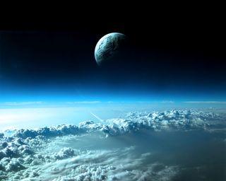 Обои на телефон galaxy, синие, галактика, темные, космос, луна, облака, земля, самолет