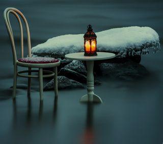 Обои на телефон лед, снег, скамейка, сидя, свет, природа, ночь, крутые, chair
