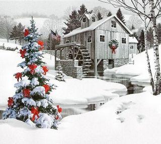 Обои на телефон холодное, счастливое, снег, рождество, зима, дерево