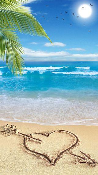 Обои на телефон волна, солнце, сердце, птицы, природа, пляж, песок, пальмы, облака, любовь, дерево, love, heart on the beach