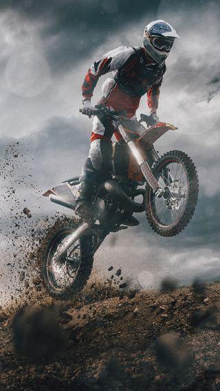 Обои на телефон прыгать, песок, мотоциклы, мото, крест, водитель, брызги, байк, stunt, moto cross