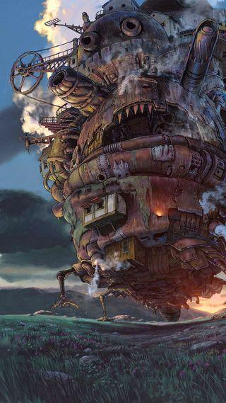 Обои на телефон анимационные, фантазия, замок, howls moving castle