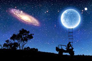 Обои на телефон огни, пейзаж, ночь, луна, звезды, джип, nightsky, lunatic, jeep, fullmoon, climb, a climb to the moon