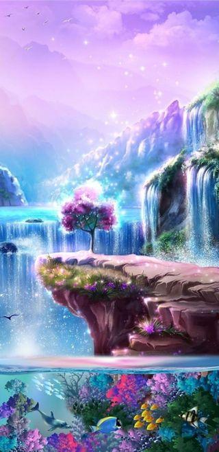 Обои на телефон водопад, симпатичные, рыба, прекрасные, красочные