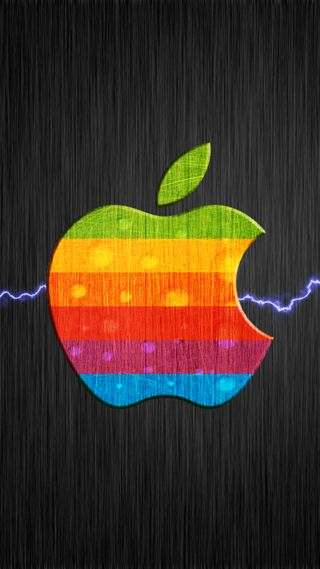 Обои на телефон эпл, цветные, молния, логотипы, mac, apple