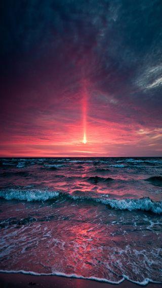Обои на телефон утро, песок, океан, восход, early morning ocean