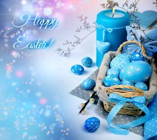 Обои на телефон яйца, свеча, счастливые, синие, пасхальные, корзина, happy