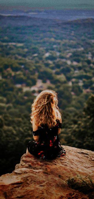 Обои на телефон утес, настроение, одиночество, модели, люди, девушки, блондинки, hd, editado, 4k