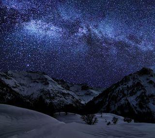 Обои на телефон горы, небо, зима, звезды
