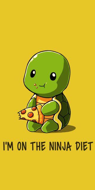 Обои на телефон diet, высказывания, ниндзя, черепаха, пицца