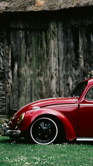Обои на телефон фольксваген, германия, трава, стена, машины, красые, vw