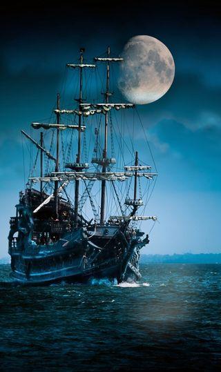 Обои на телефон корабли, темные, парусные, океан, облака, луна, лодка, sailboat