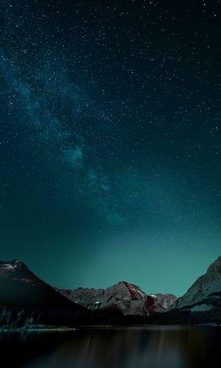 Обои на телефон ночь, небо, звезды, горы, блестящие, shiny stars