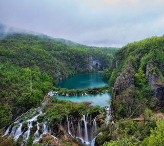 Обои на телефон водопад, синие, природа, прекрасные, небо, горы