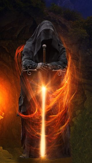 Обои на телефон меч, фантазия, ужасы, свет, огонь