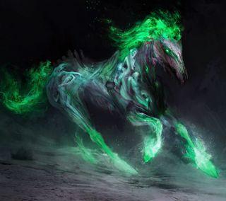 Обои на телефон лошадь, черные, зеленые