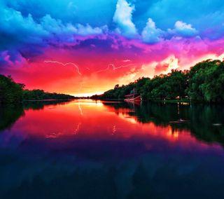 Обои на телефон тишина, озеро, облака, мир, закат, вид, tress, sunset view, hd