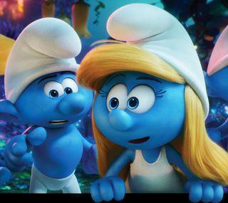 Обои на телефон смурфики, анимация, синие, белые