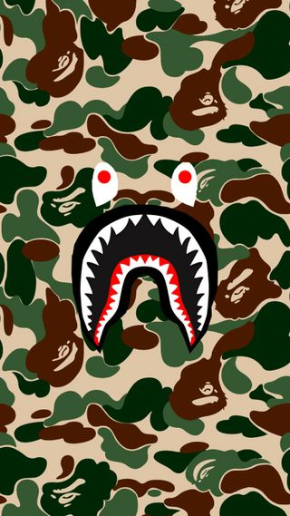 Обои на телефон бейп, арт, акула, bathing ape, bape shark, bape art