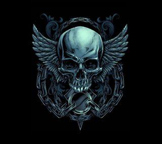 Обои на телефон череп, темные, крылья, крыло