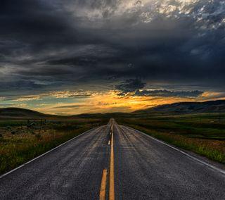 Обои на телефон холмы, вечер, природа, дорога, straight