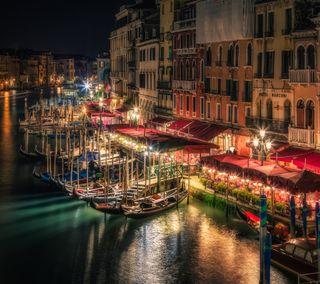 Обои на телефон корабли, ночь, лодки, итальянские, италия, город, венеция