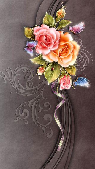 Обои на телефон светящиеся, цветы, романтика, розы, красочные, дизайн
