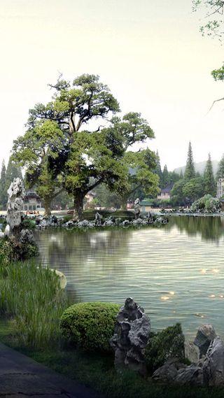 Обои на телефон японские, сад