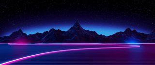 Обои на телефон холмы, аврора, огни, ночь, неоновые, neon hills