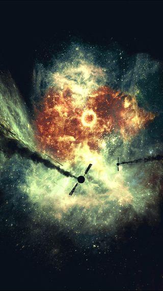 Обои на телефон фантастика, пришелец, солнце, наука, космос, космонавт, космический корабль, вниз, внешний, sci, satellite down