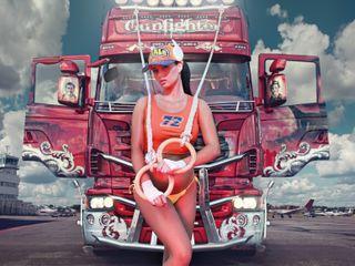 Обои на телефон грузовик, мото, девушки, авто, girl and truck