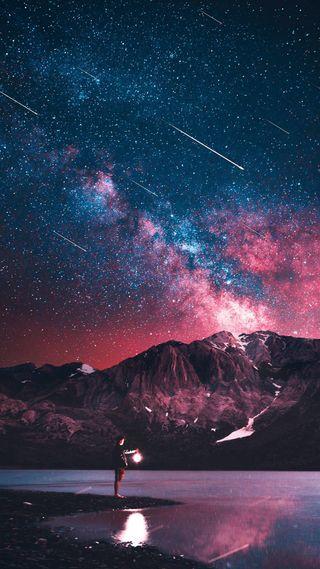 Обои на телефон ночь, небо, звезды, звезда, горы, a sky full of stars