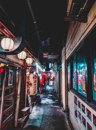 Обои на телефон фонарь, японские, улица, городские, город, арт, urban japan, hd, art