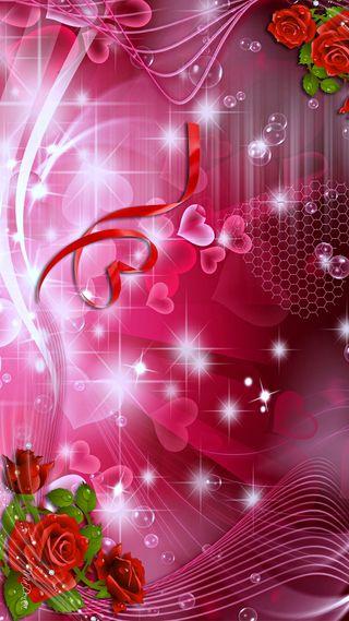Обои на телефон пузыри, сердце, розы, розовые, красые, звезды, hearts and roses