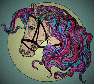 Обои на телефон перья, цветные, лошадь, кожа