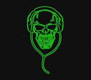 Обои на телефон наушники, черные, череп, темные, неоновые, зеленые