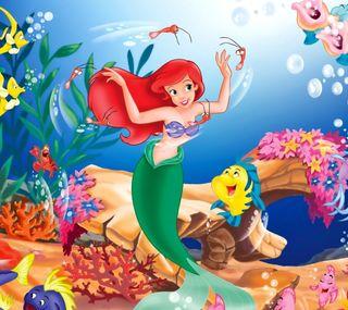 Обои на телефон анимационные, рыба, русалка, море, маленький, дисней, redhead, little mermaid, disney