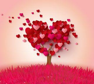 Обои на телефон романтика, сердце, розовые, любовь, дерево, love