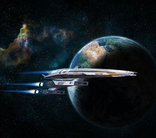 Обои на телефон эффект, космос, космический корабль, земля, ssv, sr2, normandy